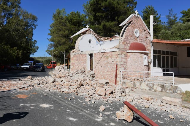 <p>A damaged Greek Orthodox chapel is seen after a strong earthquake in Arcalochori village on the southern island of Crete, Greece, Monday, 27 Sept</p>