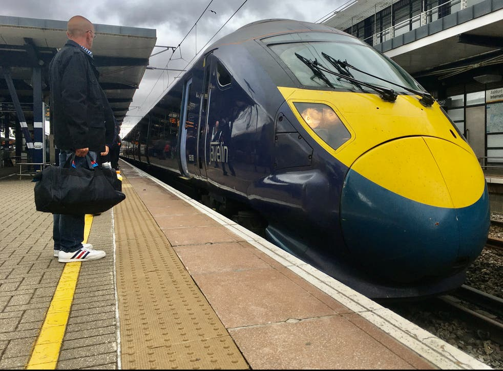<p>One of Southeastern's high-speed Javelin trains at Ashford International station in Kent</p>