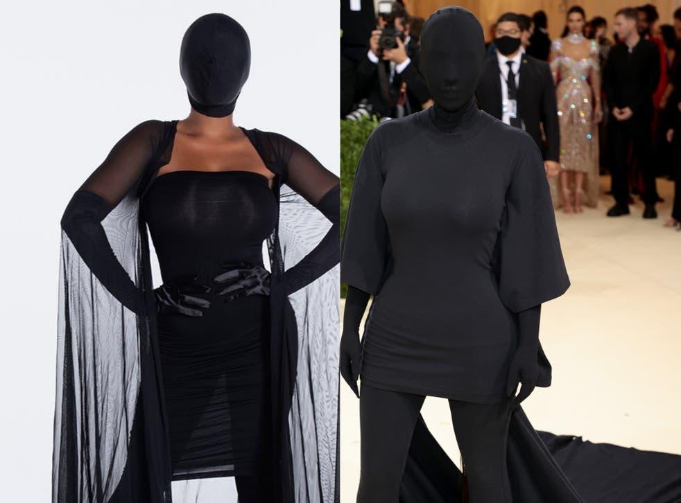 <p>Kim Kardashian's Met Gala look (R) has been turned into a Halloween costume</p>