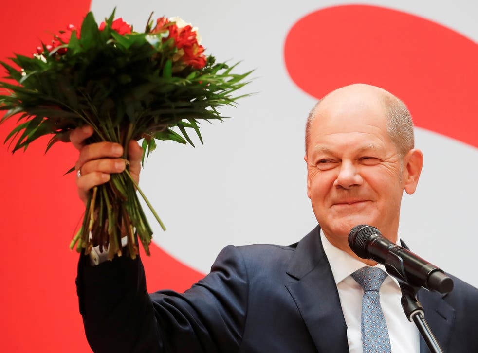 <p> The SPD candidate, Olaf Scholz, will succeed Angela Merkel as chancellor</p>
