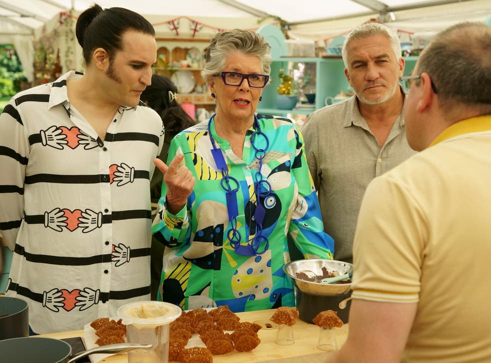 <p>Jürgen Krauss faces judges Prue Leith and Paul Hollywood as well as co-host Noel Fielding on 'The Great British Bake Off'</p>