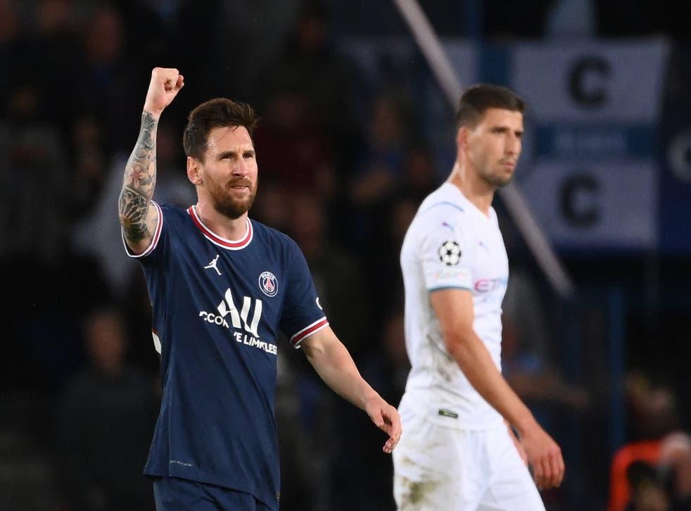 <p>Lionel Messi celebrates his goal</p>