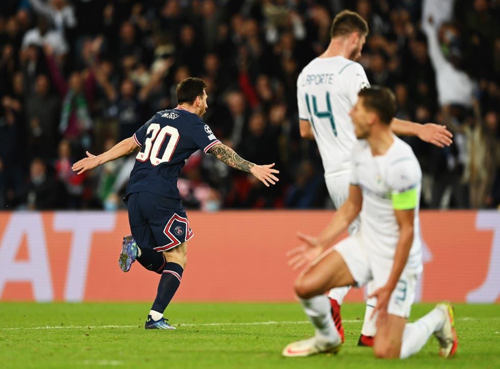 <p>Lionel Messi celebrates after scoring PSG's second goal</p>