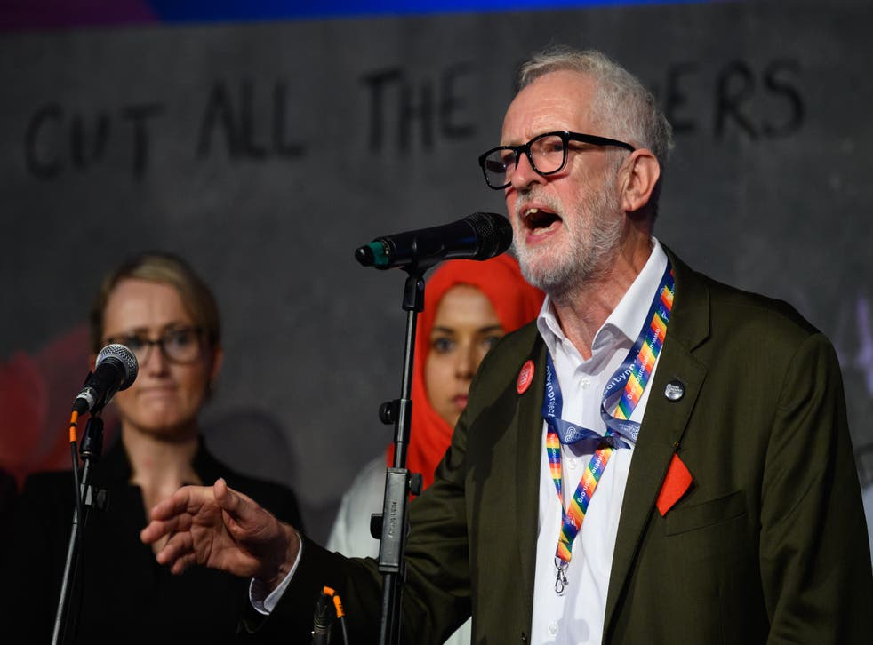 <p>Jeremy Corbyn addresses an audience at a fringe event for political festival The World Transformed on the fourth day of the Labour conference </p>