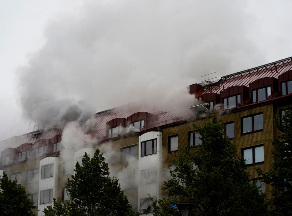 <p>Aftermath of an explosion at an apartment building in Annedal district, Gothenburg, Sweden</p>
