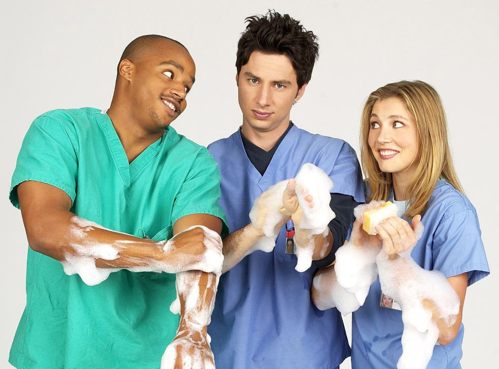 <p>'I was doing some of the craziest s*** I've ever done in my career': Donald Faison, Zach Braff and Sarah Chalke in 'Scrubs' </p>
