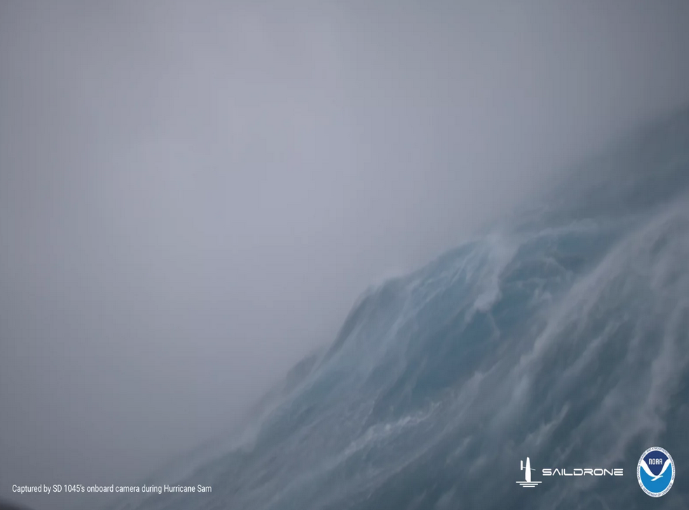 <p>A drone captured footage directly from Hurricane Sam's eye</p>
