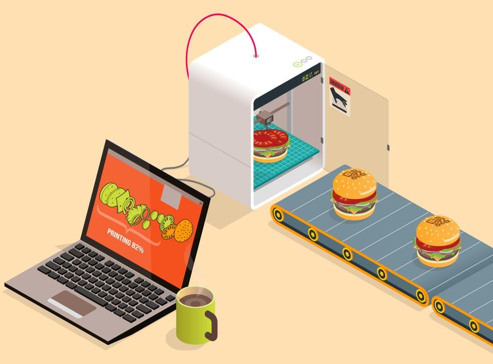 Ilustración de los alimentos que se imprimen desde una máquina.