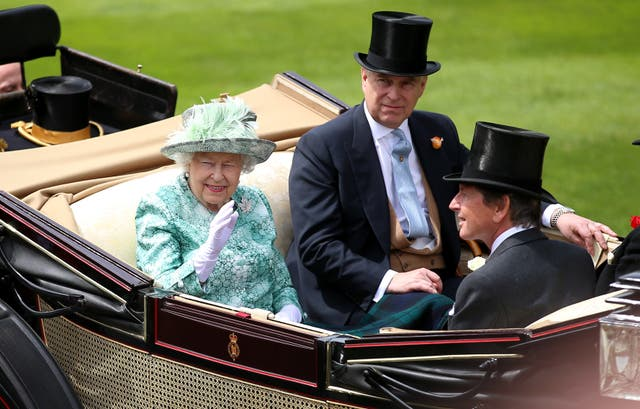 <p>Queen Elizabeth II and Prince Andrew, Duke of York arrive during day five of Royal Ascot at Ascot Racecourse</p>