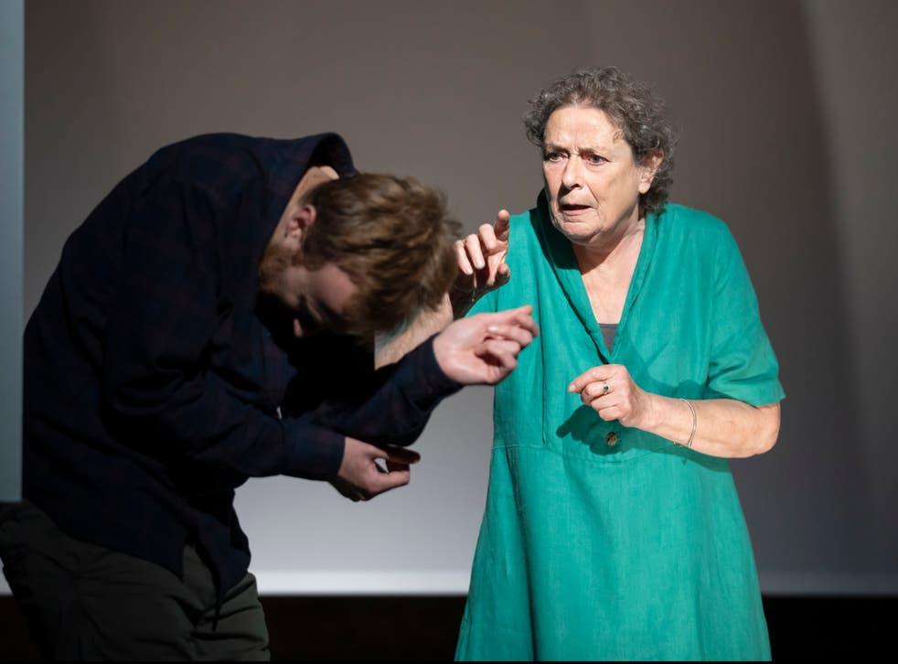 <p>John Heffernan and Linda Bassett in Churchill's short play</p>