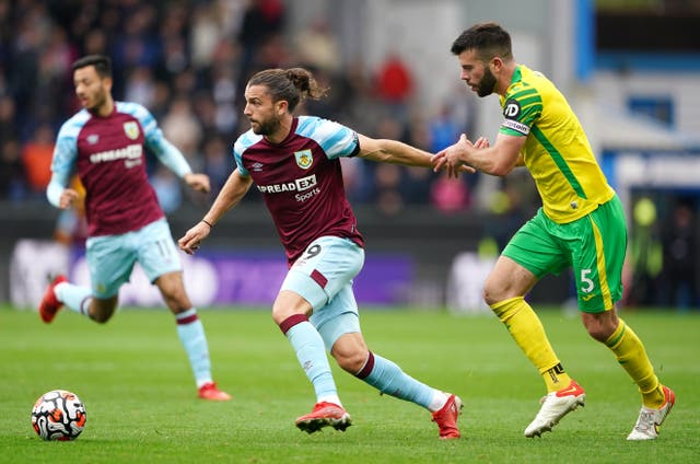 Burnley striker Jay Rodriguez and Norwich captain Grant Hanley battle for the ball in the goalless draw (Zac Goodwin/PA)