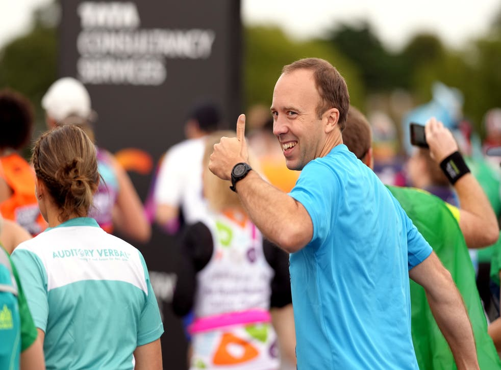 <p>A smile and a thumbs-up ahead of the London Marathon</p>