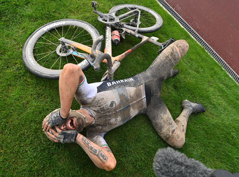 <p>Sonny Colbrelli celebrates after winning in Roubaix</p>