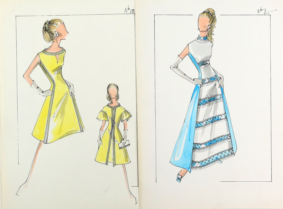 <p>Sir Norman Hartnell's sketches of dresses for Princess Anne</p>