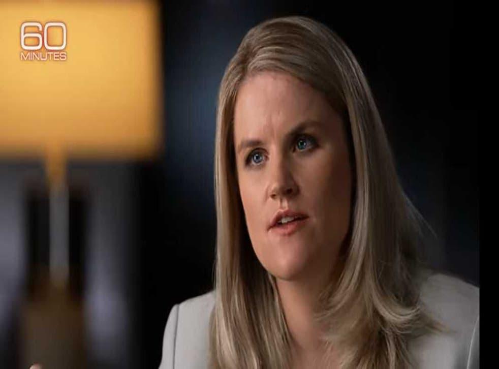 <p>Frances Haugen during her CBS News interview with Scott Pelley</p>
