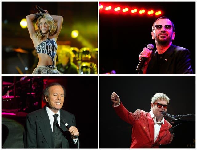 Desde arriba a la izquierda en el sentido de las agujas del reloj: Shakira, Ringo Starr, Elton John y Julio Iglesias han sido nombrados en los Pandora Papers.