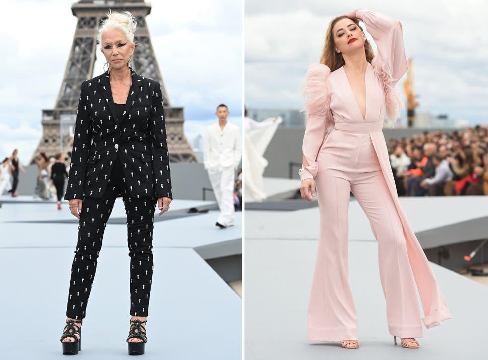 <p>Dame Helen Mirren (L) and Amber Heard (R) on the L'Oreal catwalk at Paris Fashion Walk 2021</p>