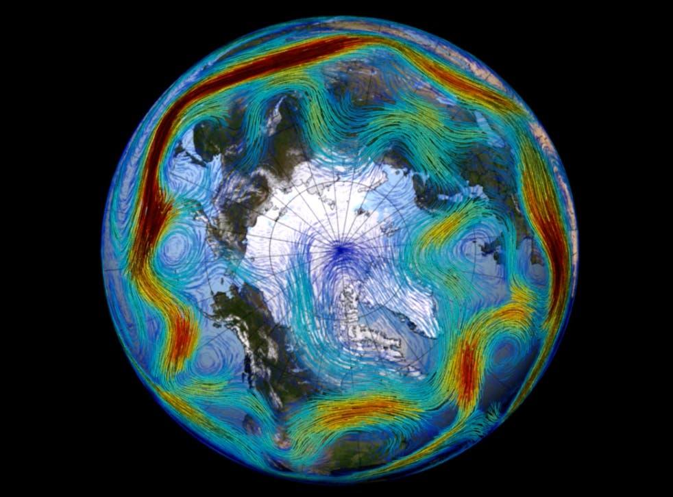 <p>A visualisation of the North Atlantic jet stream</p>