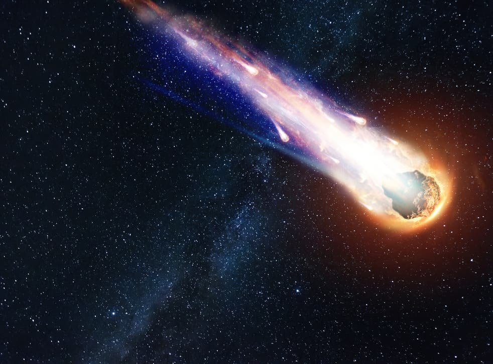 A comet flying in the sky