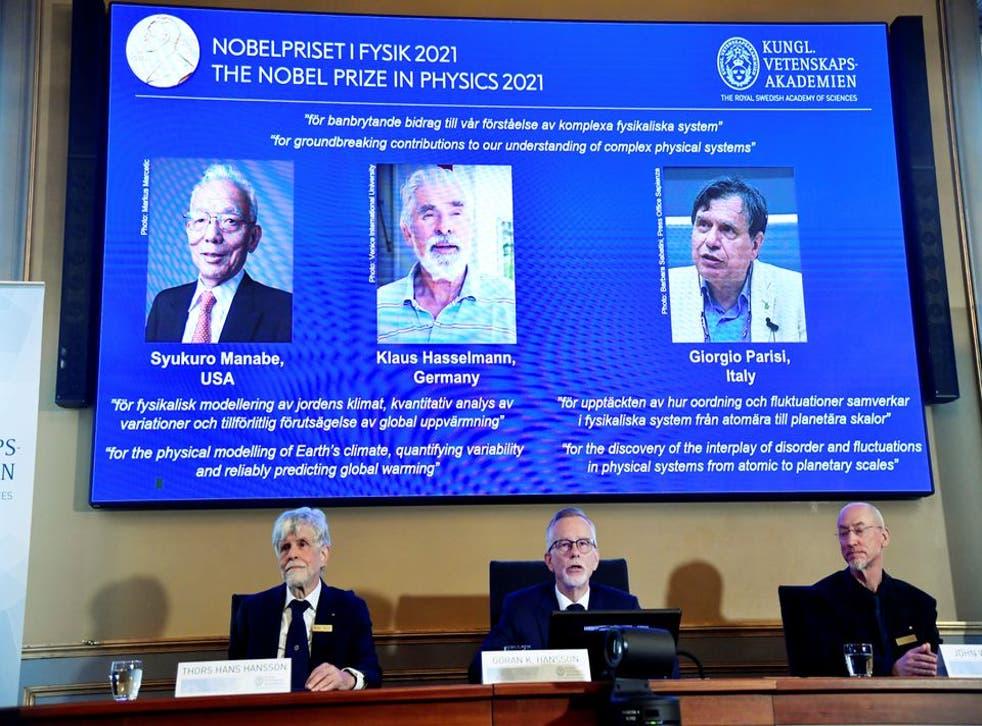 <p>The Nobel Prize for Physics was awarded to Syukuro Manabe, Klaus Hasselmann and Giorgio Parisi </p>