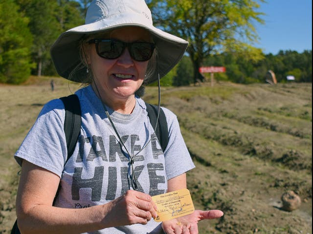 <p>Noreen Wredberg with her valuable find</p>