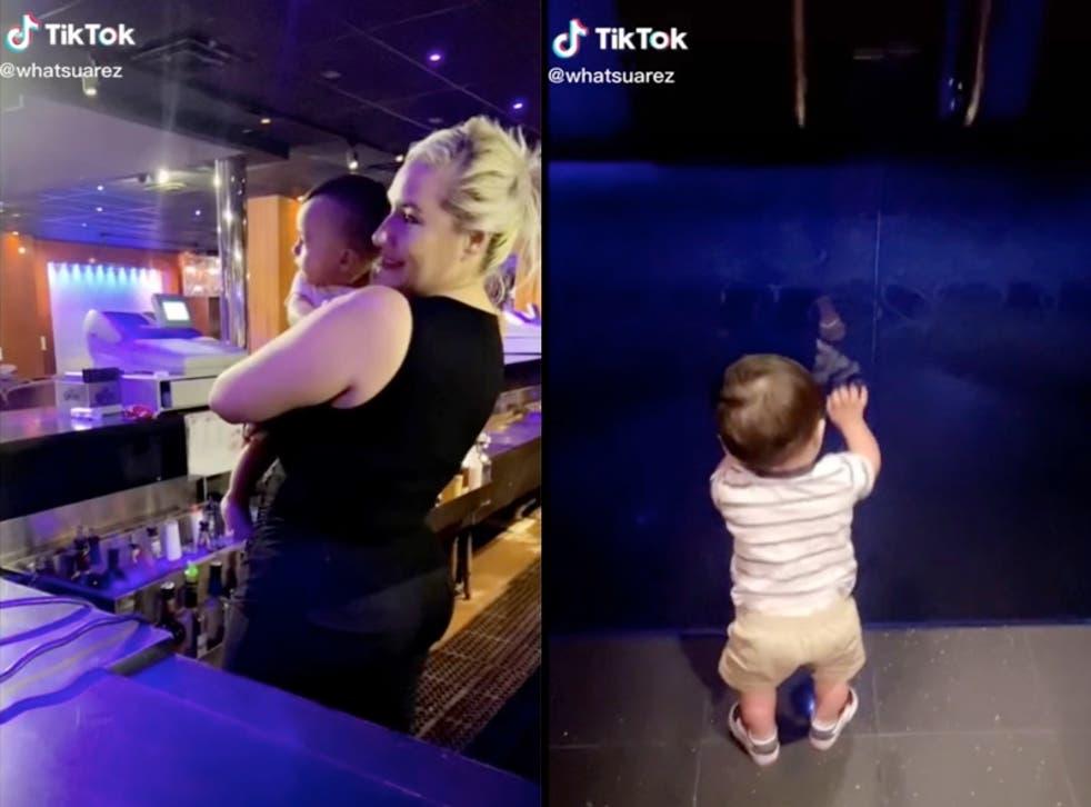 La gerente del club de striptease inicia una conversación sobre el cuidado de los niños después de revelar que lleva a su hijo al club