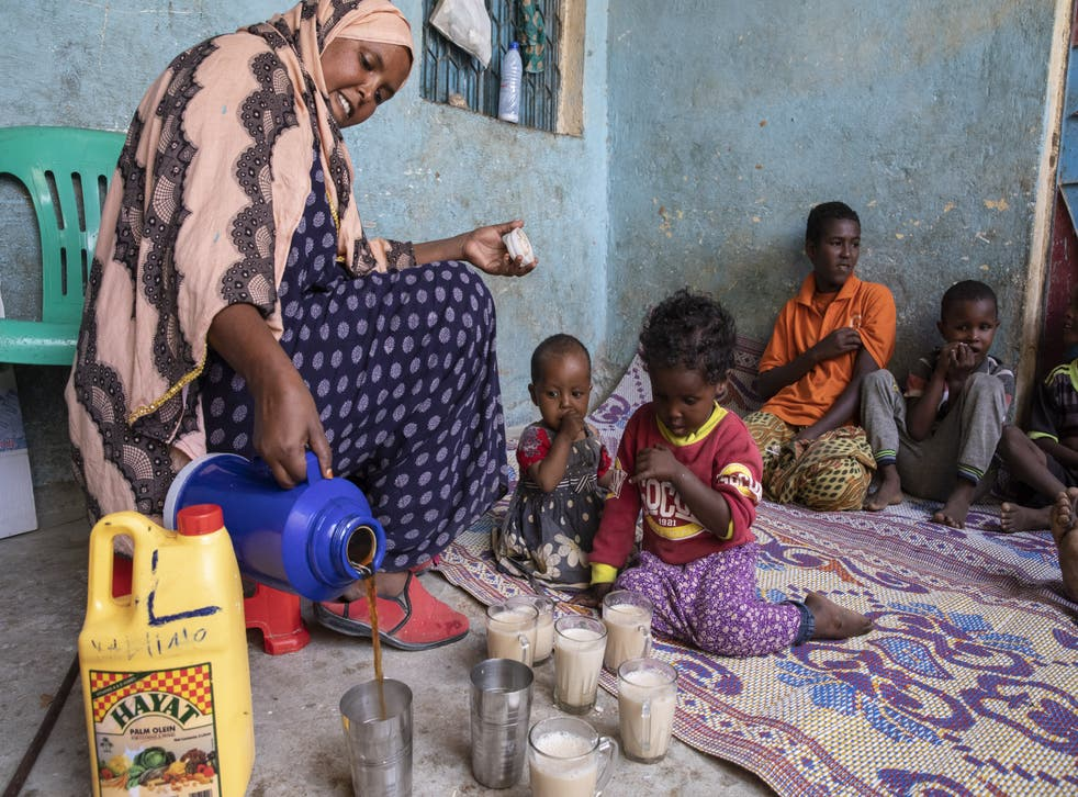 <p>Khadra received $600 investment capital from Save the Children to open a tea shop, after she lost her livelihood as a farmer due to drought. </p>