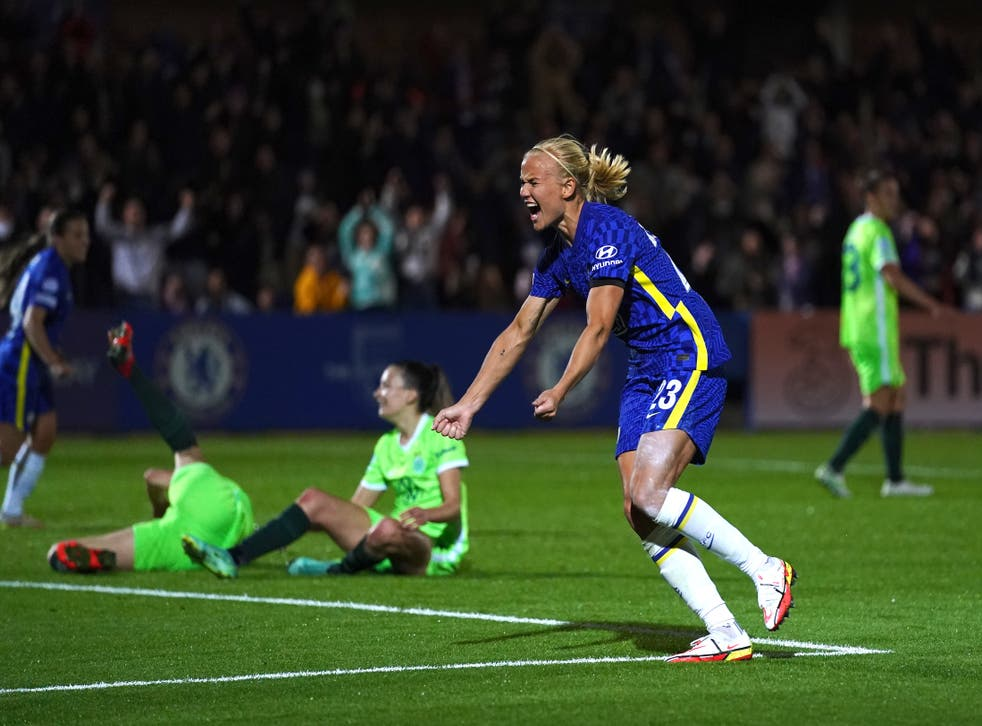 Pernille Harder snatched an added-time equaliser against former club Wolfsburg in the Champions League (Adam Davy/PA)