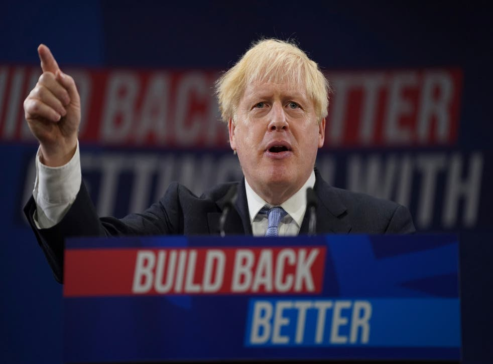 <p>Boris Johnson making his keynote speech at the Conservative Party conference </p>