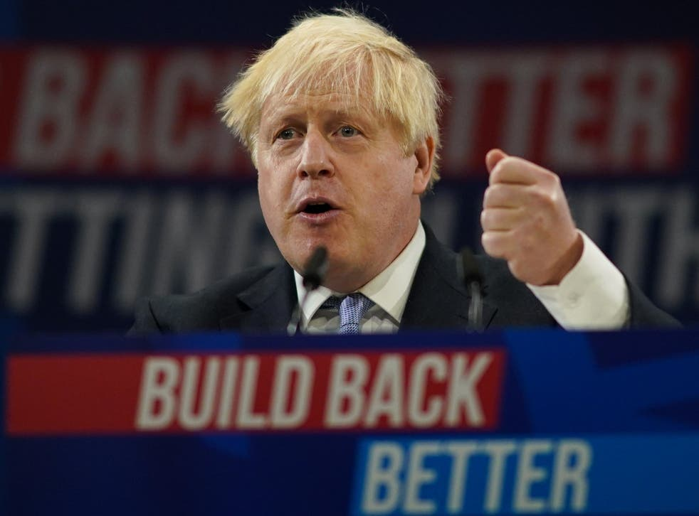<p>The PM during his speech at the Conservative Party Conference on Wednesday </p>