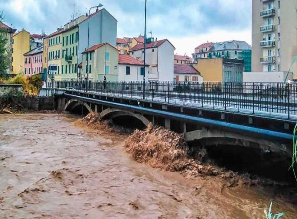 <p>More than half a year's worth of rain fell in parts Italy over 12-hour period on 4 October 2021</p>