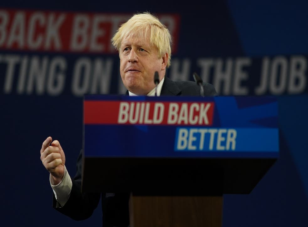 <p>Boris Johnson delivers his keynote speech at the Tory Party conference </p>