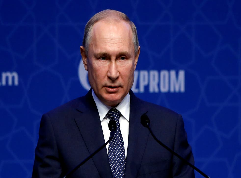 <p>Russian president Vladimir Putin attends a ceremony marking the formal launch of the TurkStream pipeline, which will carry Russian natural gas to southern Europe through Turkey</p>