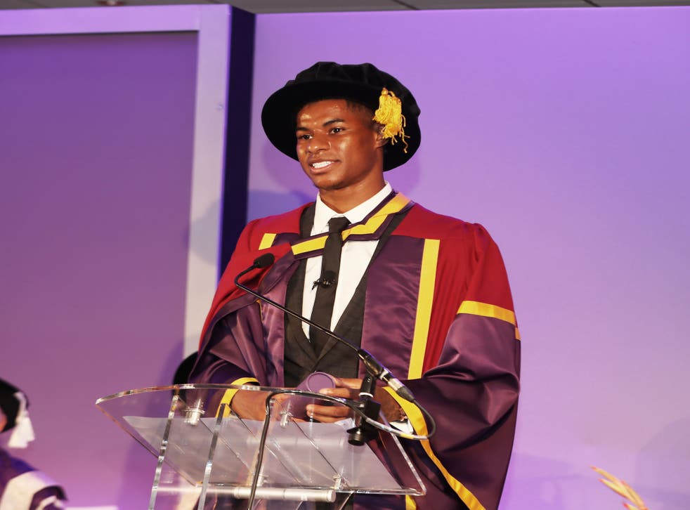 <p>Rashford described the day as 'bittersweet', as it coincided with the cutting of universal credit</p>