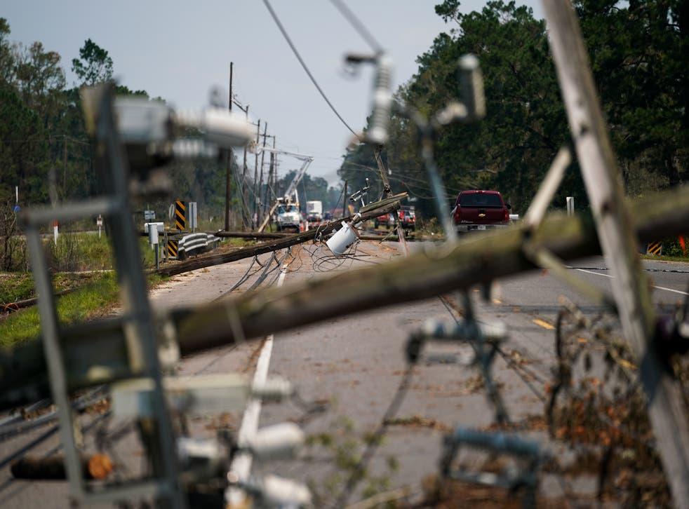<p>Utility poles and transmission lines collapsed across south Louisiana during Hurricane Ida, stranding thousands of residents without power for days or weeks.</p>
