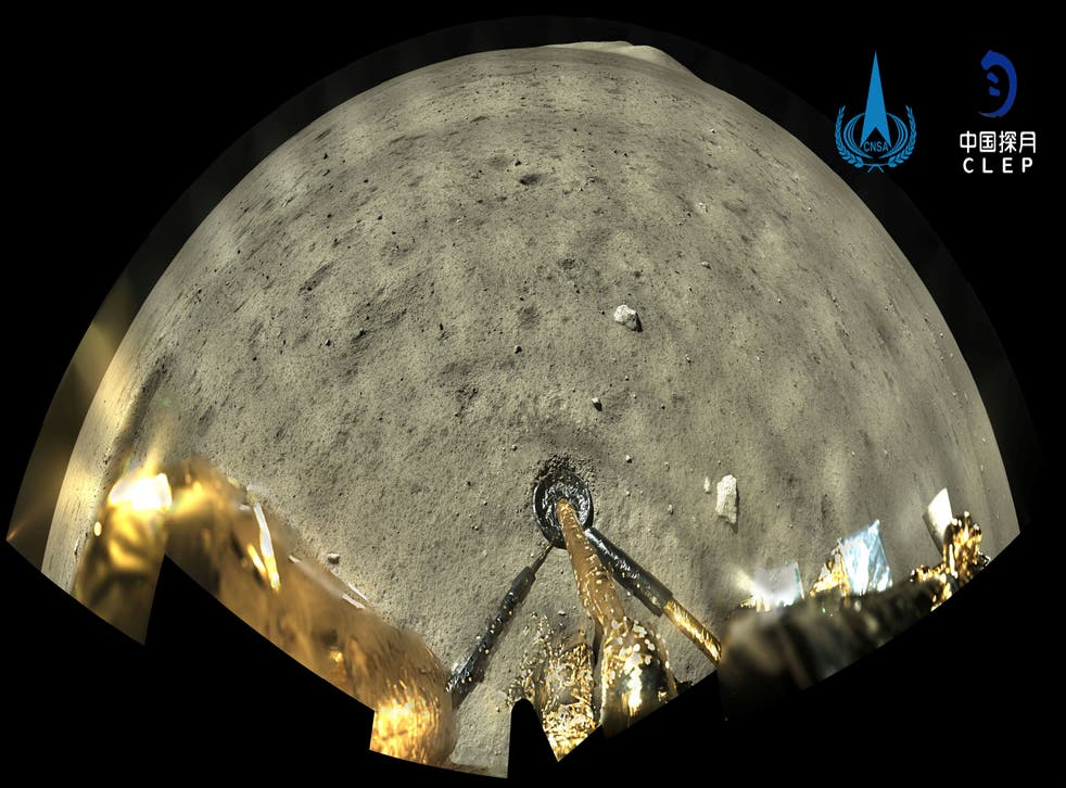 <p>File: Picture taken of the Chang'e-5 spacecraft after landing on the Moon</p>