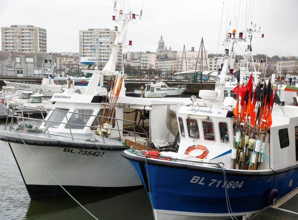 <p>Fishing trawlers docked at Boulogne-sur-Mer </p>