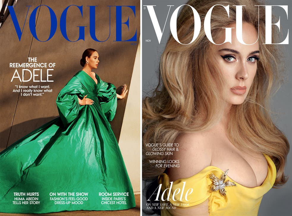 <p>Adele covers the November issues of British and American<em> Vogue</em></p>