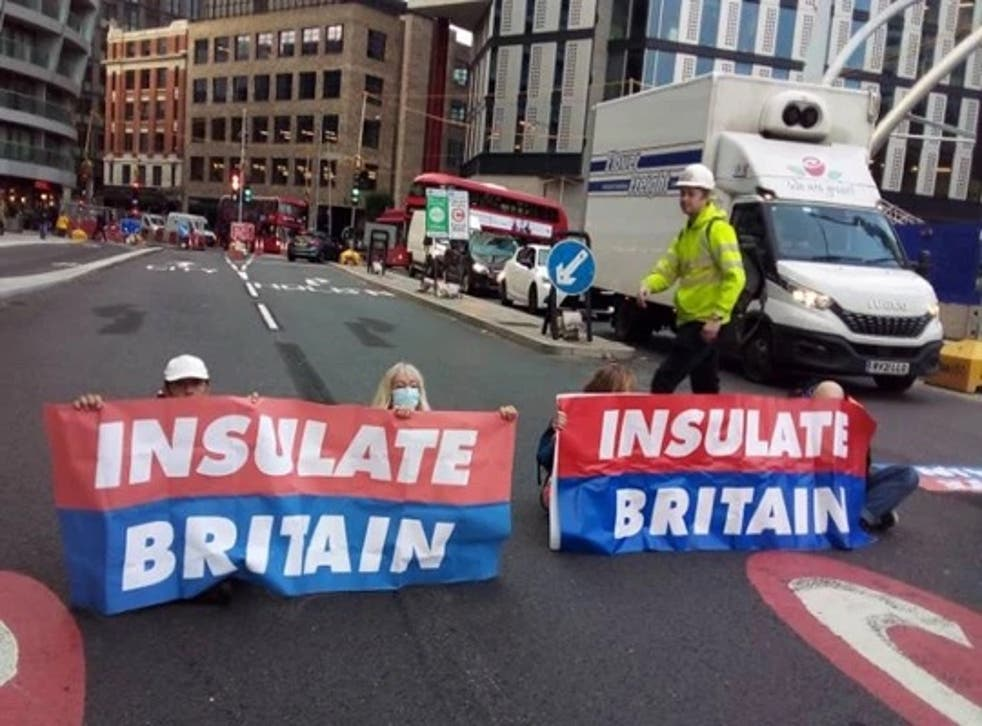 <p>The climate activists blocked Old Street roundabout in central London</p>