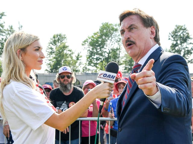 <p>MyPillow CEO Mike Lindell during a TV interview with One America News</p>