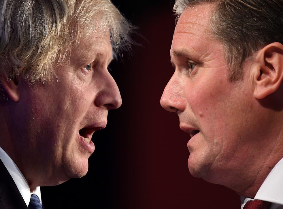 <p>Tilting axis: Boris Johnson and Keir Starmer  </p>