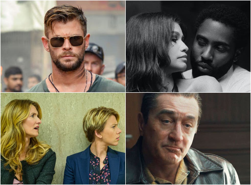 <p>Netflix hits (clockwise from top right): 'Malcolm & Marie', 'The Irishman', 'Marriage Story' and 'Extraction'</p>