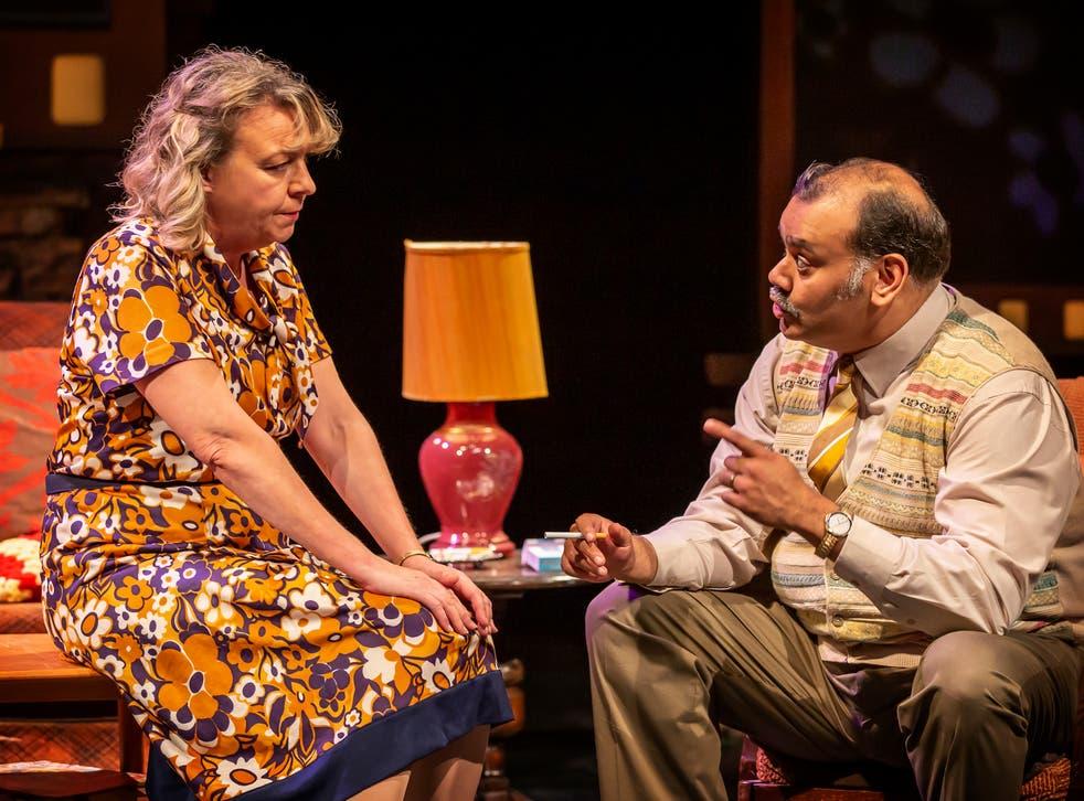 <p>Sophie Stanton and Tony Jayawardena in 'East Is East'</p>
