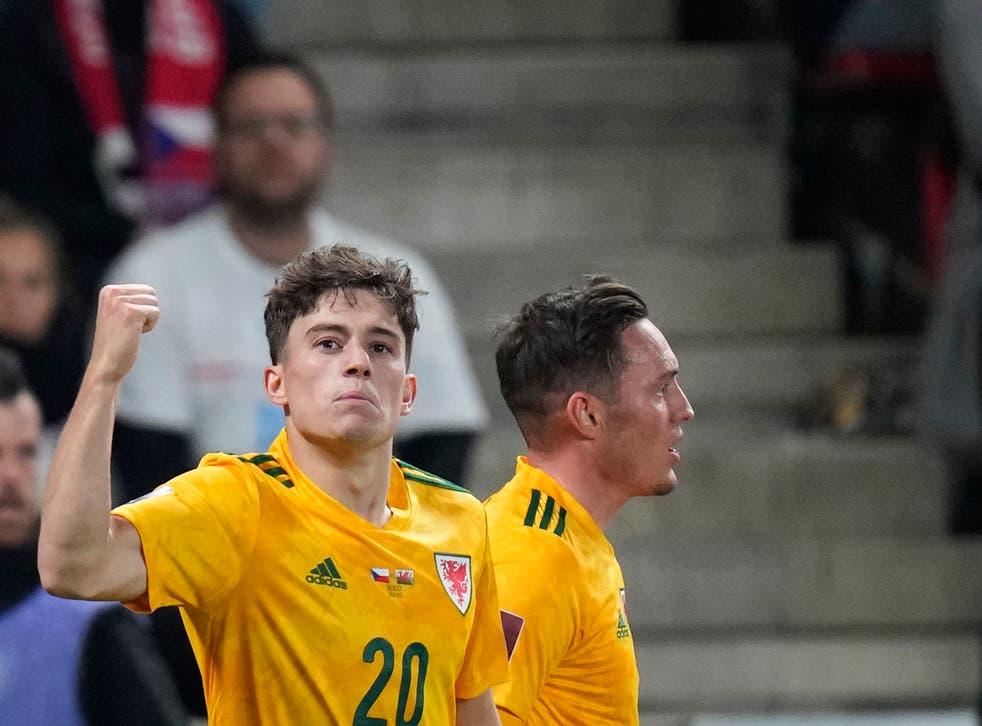 <p>Daniel James (left) celebrates scoring Wales' second goal in their 2-2 draw with the Czech Republic (Petr David Josek/AP)</p>