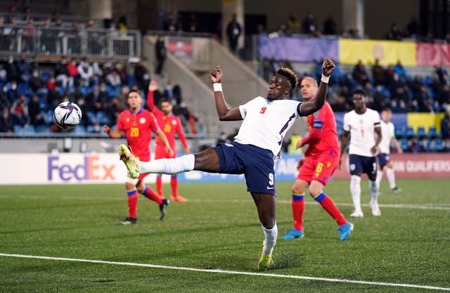 Tammy Abraham scores England's third goal (Nick Potts/PA)