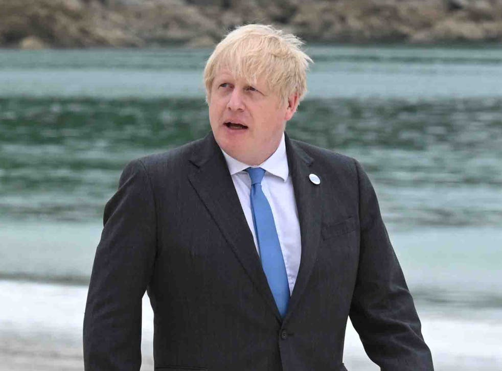 <p>File photo: PM on a Cornwall beach in June </p>