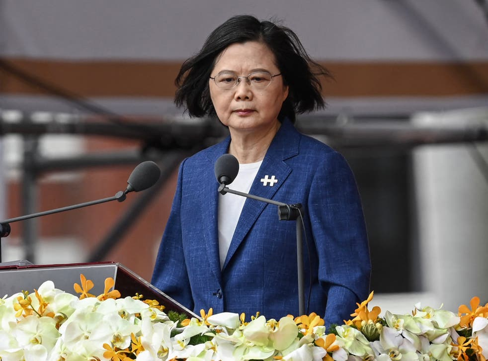 <p>Taiwan's President Tsai Ing-wen speaks during National Day celebrations in front of the presidential palace in Taipei</p>