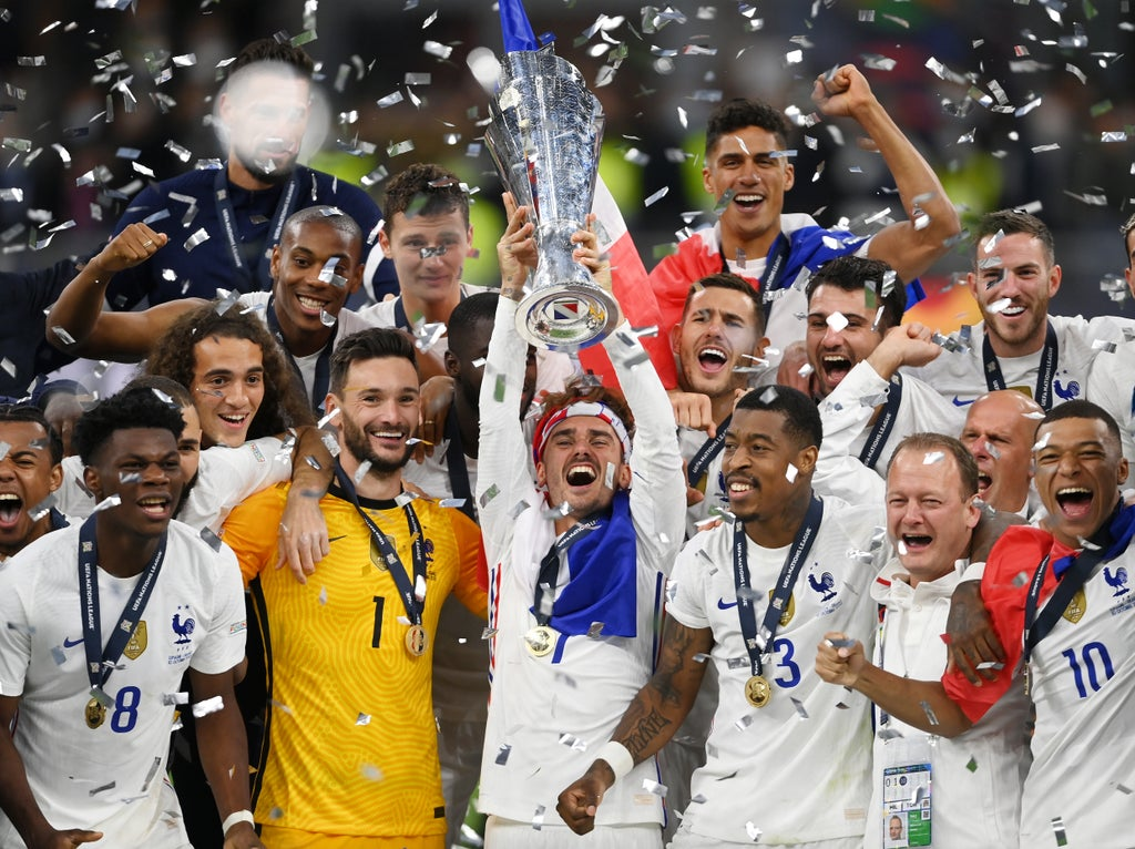 France come from behind to beat Spain in Nations League final as Kylian Mbappe seals win