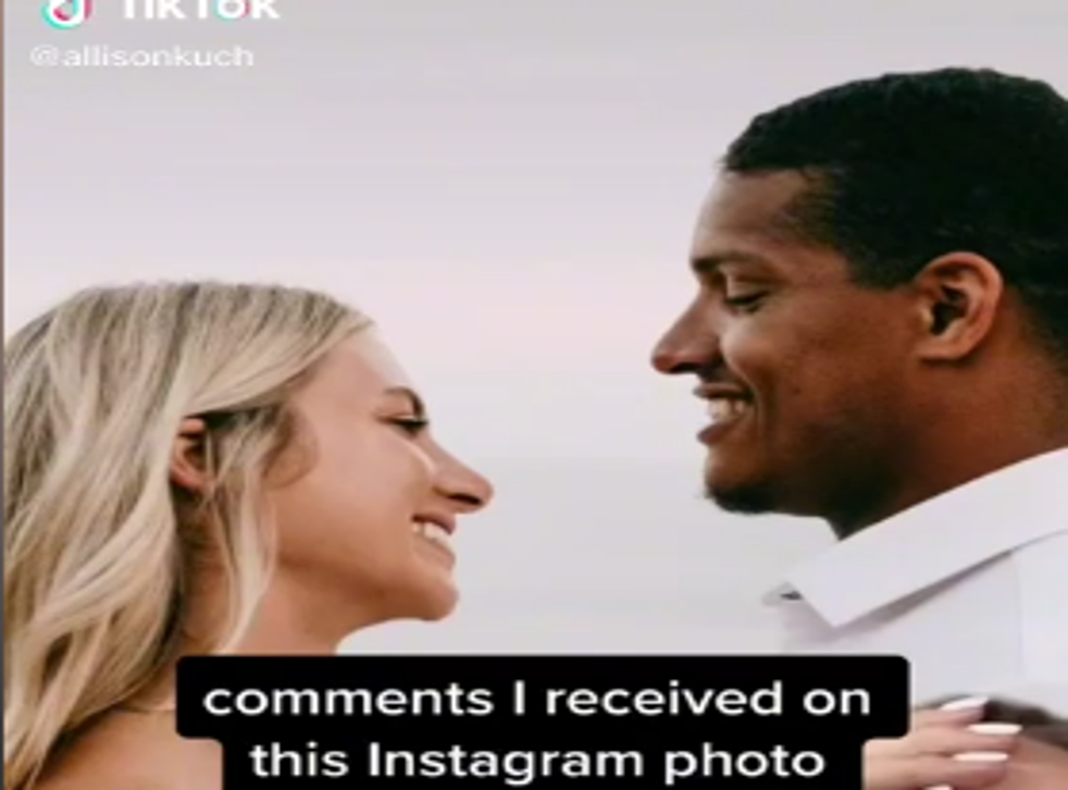 <p>Screengrab from the TikTok video shared by Allison Rochell over the racial abuse hurled at the couple for their interracial marriage</p>