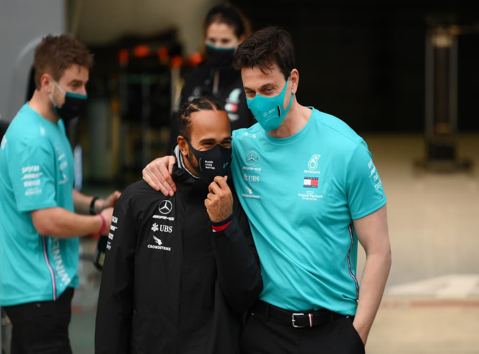 <p>Lewis Hamilton and Toto Wolff </p>